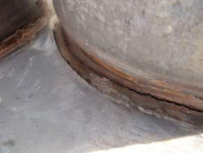 Deteriorated joint on HVAC equipment